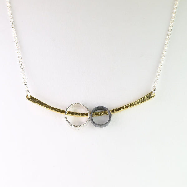 Oxidized Silver and Gold Plated Necklace by JB Designs.