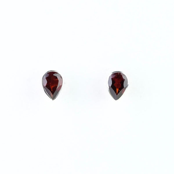 Tear Drop Silver and Garnet Stud Earrings.