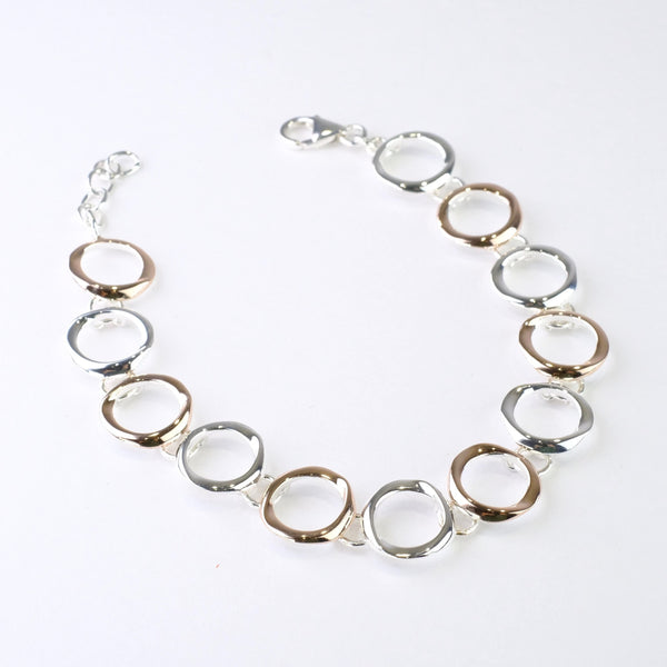 Polished Silver with Rose Gold Plating Linked Bracelet by JB Designs.