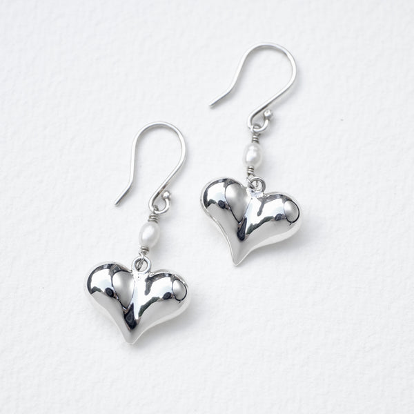 Silver Heart and Pearl Drop Earrings.