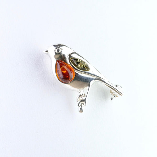 Amber and Silver Robin Brooch.