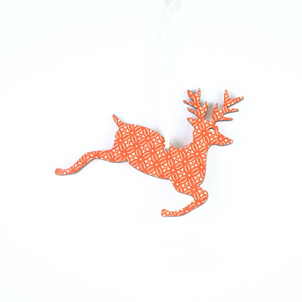 Small Hanging Red Reindeer Christmas Decoration.