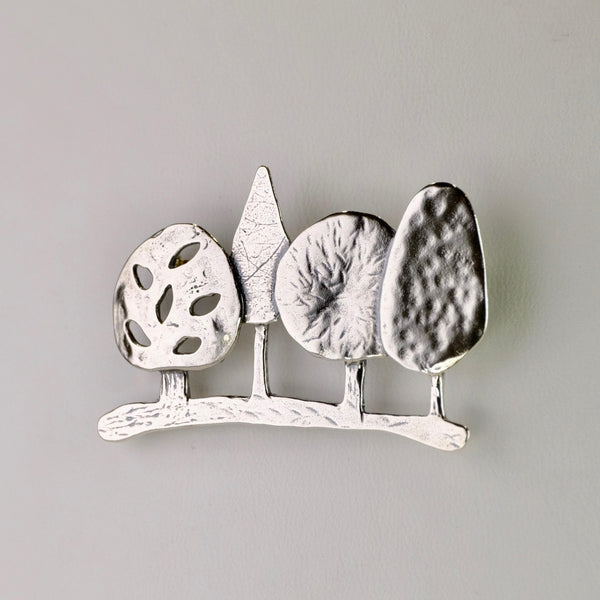 Silver Row of Trees Brooch by JB Designs.