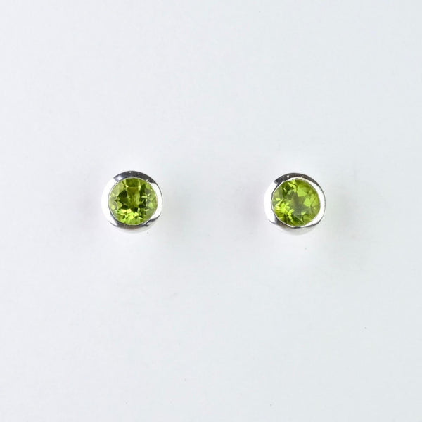 Silver and Peridot Stud Earrings.