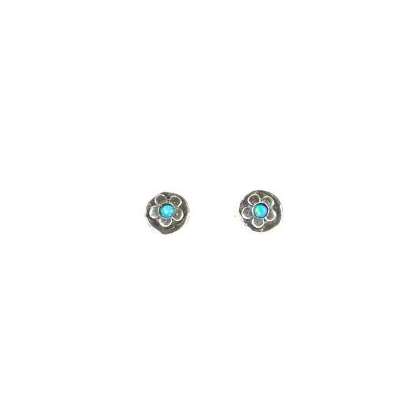 Opal and Silver Stud Earrings