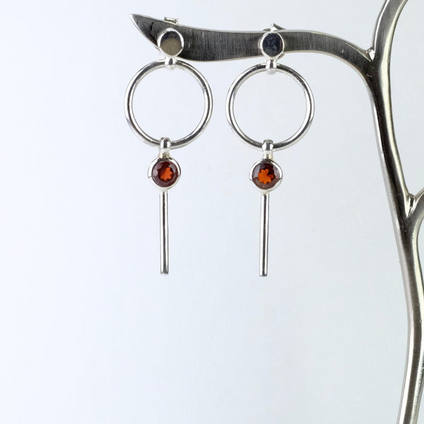Silver and Garnet Drop Earrings.
