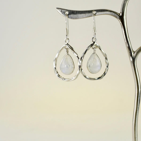 Silver and Rainbow Moonstone Earrings.