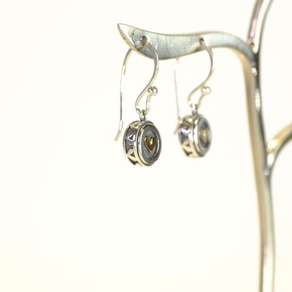 Linda Macdonald Handmade Silver Heart Earrings.