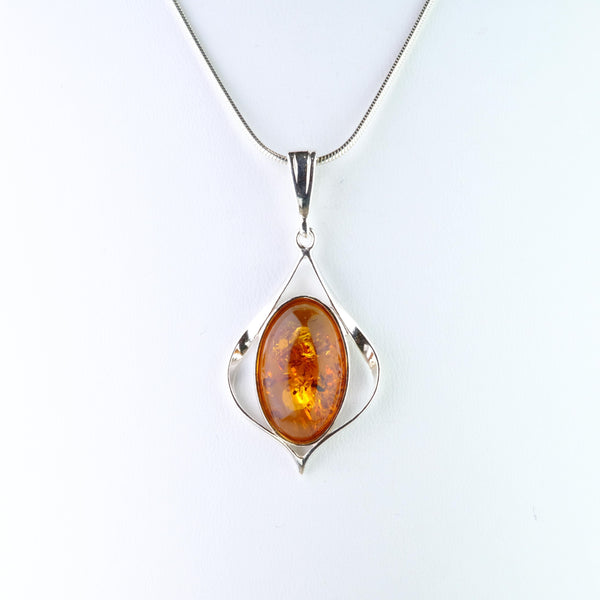 Amber and Silver Pendant.