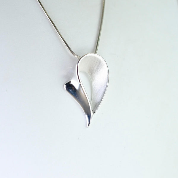 Satin and High Polished Pear Shape Silver Pendant by JB Designs.