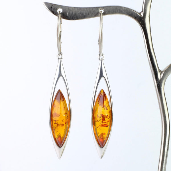 Long Amber and Silver Earrings.