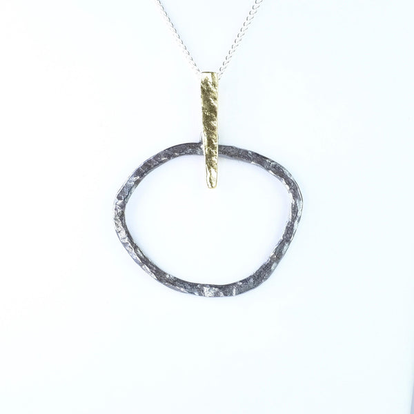 Textured Silver and Gold Plated Geometric Pendant by JB Designs.