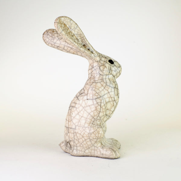 Small Raku Ceramic Sitting Hare by Paul Jenkins