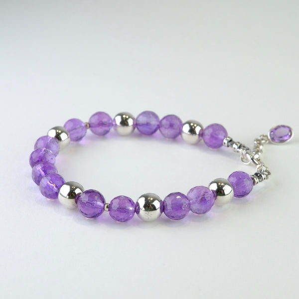 Amethyst and Silver Beaded Bracelet.