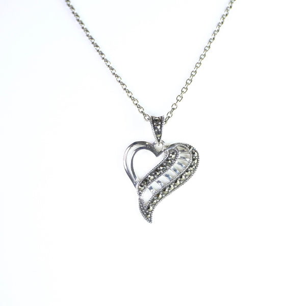 Marcasite and Silver Heart Pendant.