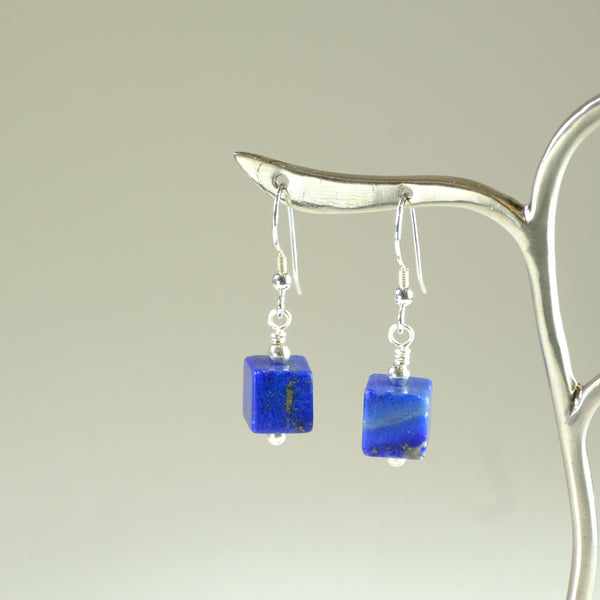 Silver and Lapis Handcrafted Earrings.