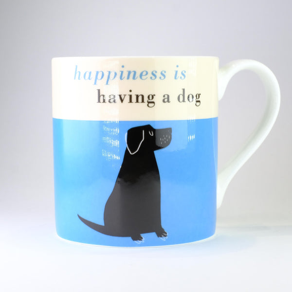 'Happiness is Having a Dog' Blue Bone China Mug.