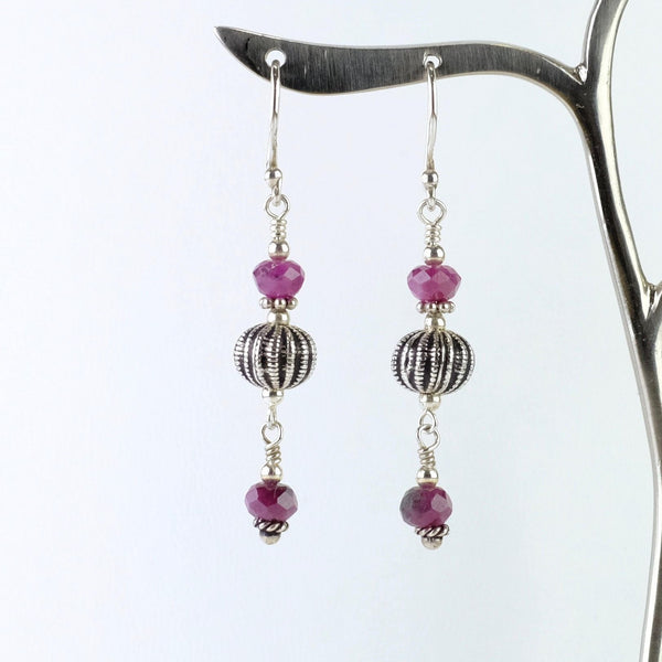 Rhodonite and Silver Beaded Earrings.