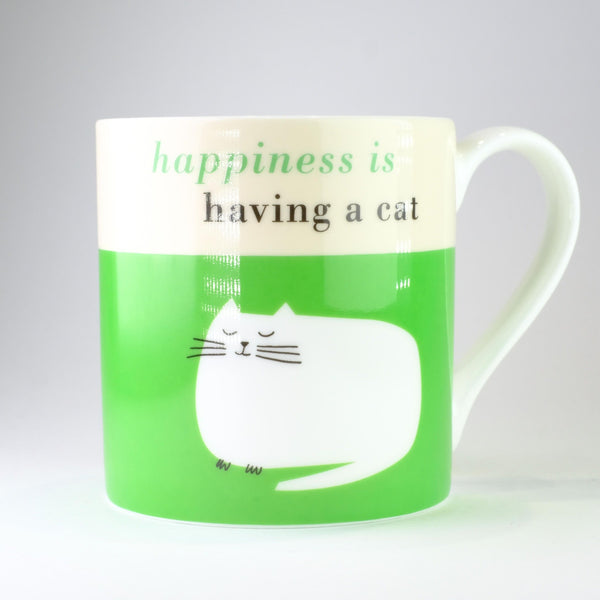 'Happiness is Having a Cat' Green Bone China Mug.