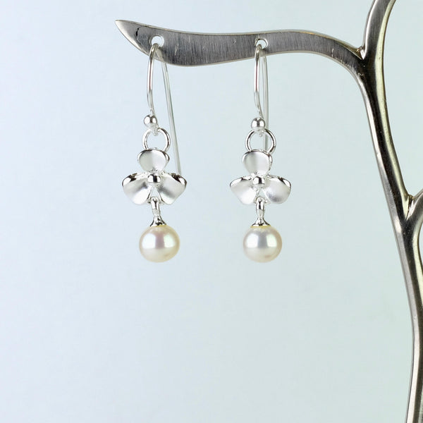 Matt 'Forget me not' Silver and Pearl Drop Earrings by JB Designs.
