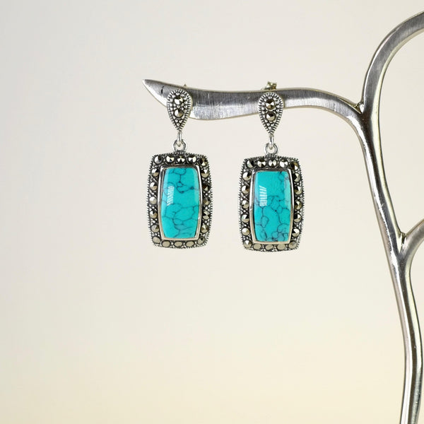 Silver, Marcasite and Turquoise Drop Earrings.