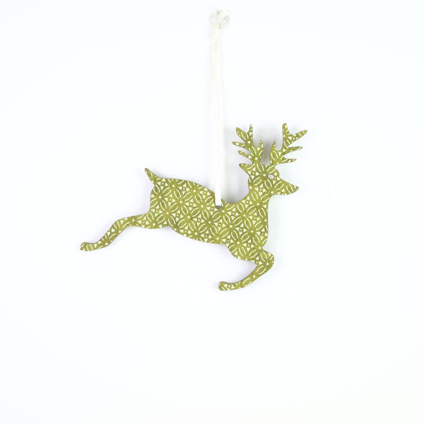 Small Hanging Green Reindeer Christmas Decoration.