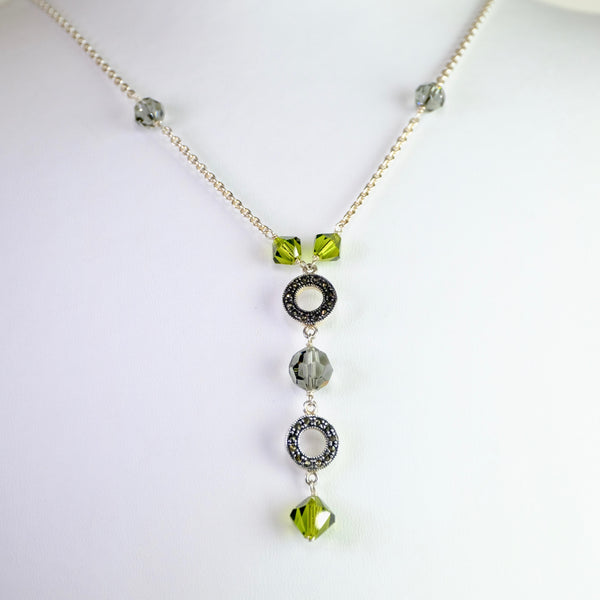 Crystal, Marcasite and Silver Necklace.