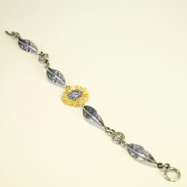 Handmade Silver Sunflower Bracelet by Sheena McMaster.