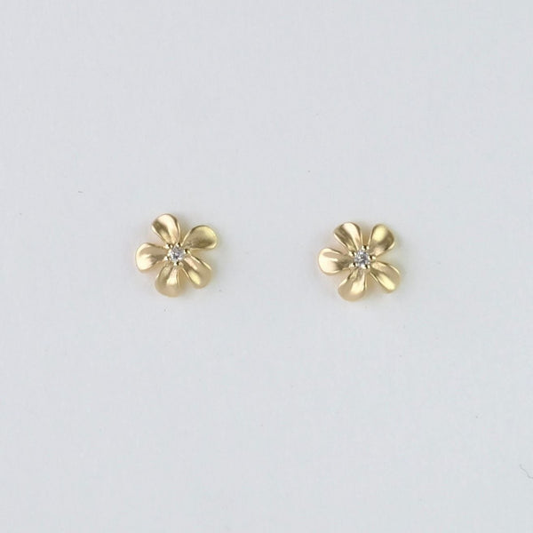 Gold and Cubic Zirconia Flower Studs.