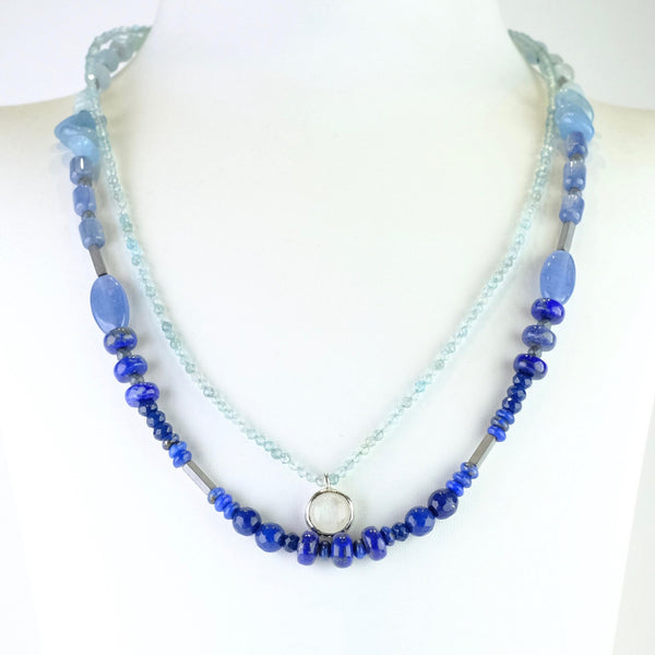 Lapis, Kyanite, Aquamarine and Moonstone Beaded Necklace.