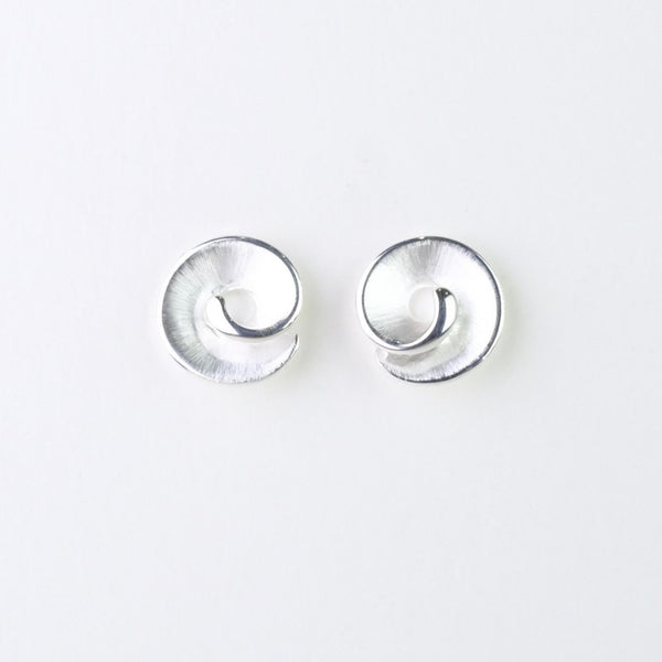 Round Satin and Polished Silver Stud Earrings by JB Designs.
