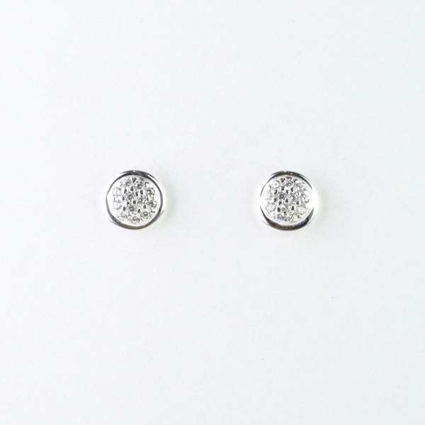 Silver and Cz Round Stud Earrings by JB Designs.