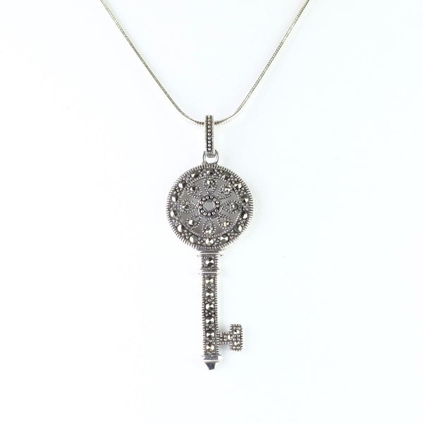 Marcasite and Silver Key Pendant.