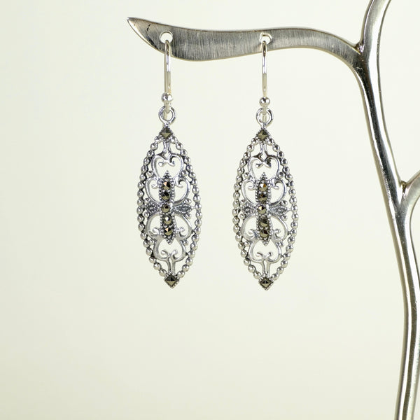 Marcasite and Silver Drop Earrings.