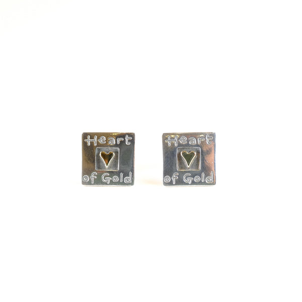 Handmade Silver 'Heart of Gold' Earrings by Nick Hubbard.