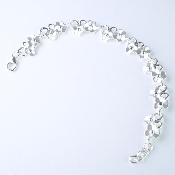 Satin Silver 'Forget-me-not' Bracelet.