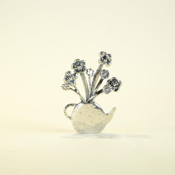 Silver Flowers in Tea Pot Brooch by JB Designs.
