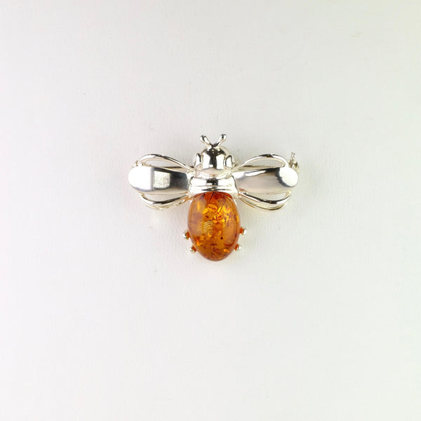 Sterling Silver and Amber Bee Design Brooch.