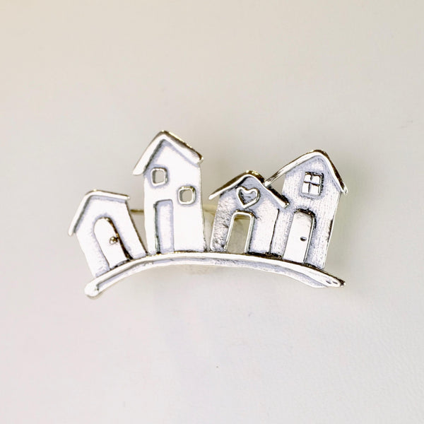 Silver Row of Beach Huts Brooch by JB Designs.