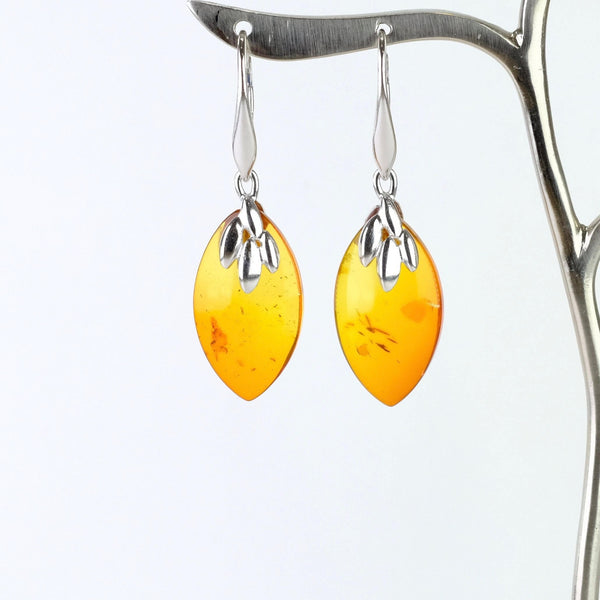Amber and Silver Drop Earrings.