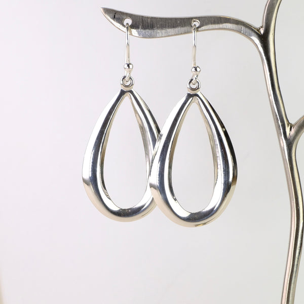 Silver Pear Shape Drop Earrings.
