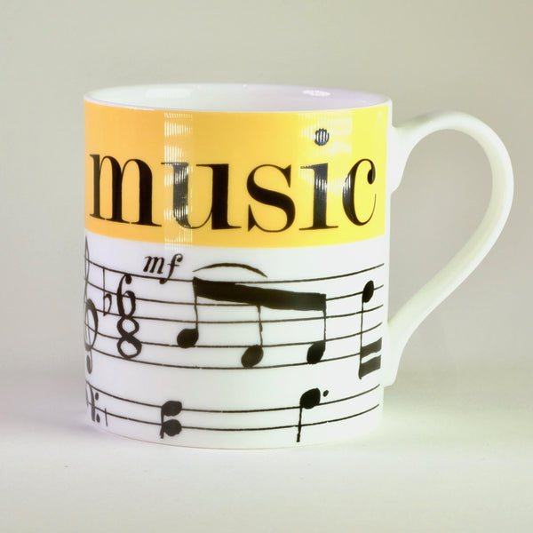 Graphic 'Music' Bone China Mug.