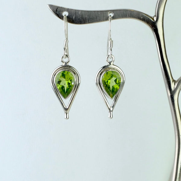Silver and Faceted Peridot Earrings.