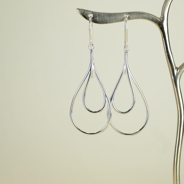 Silver Drop Earrings by LBJ Designs.