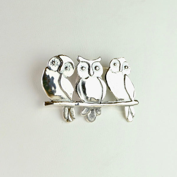 Silver Owls Brooch by JB Designs.