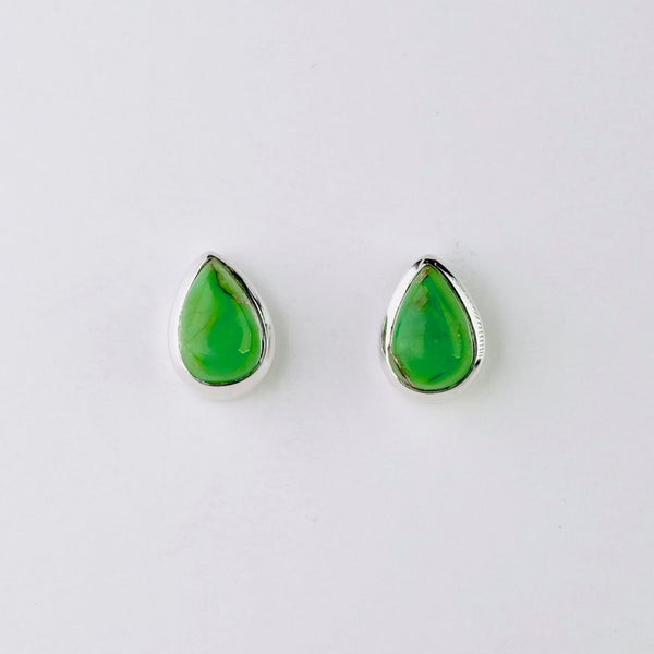 Green Mojave Turquoise and Silver Stud Earrings.