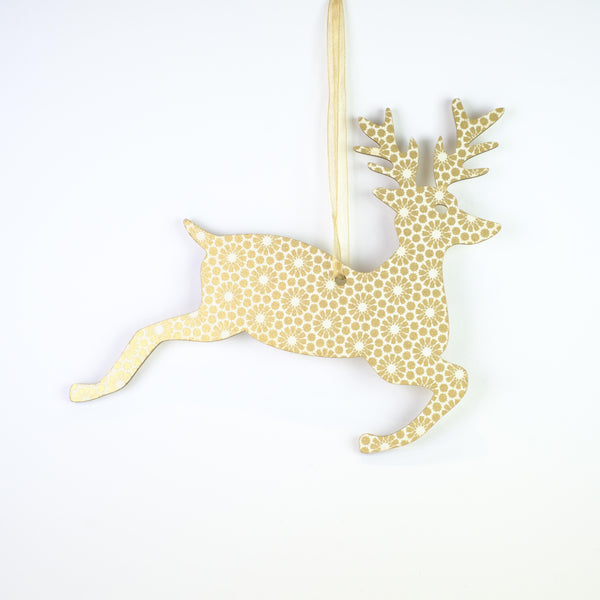 Hanging Gold Reindeer Christmas Decoration.