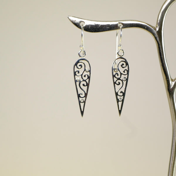 Silver and Cz Drop Earrings.