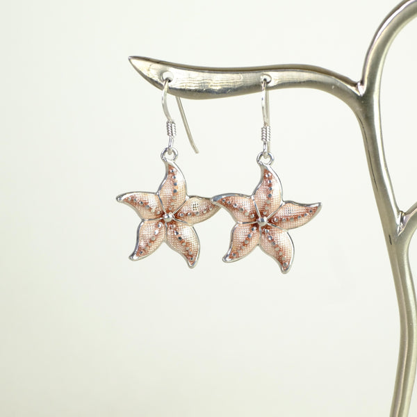 Silver and Pink Enamel Starfish Design Earrings.