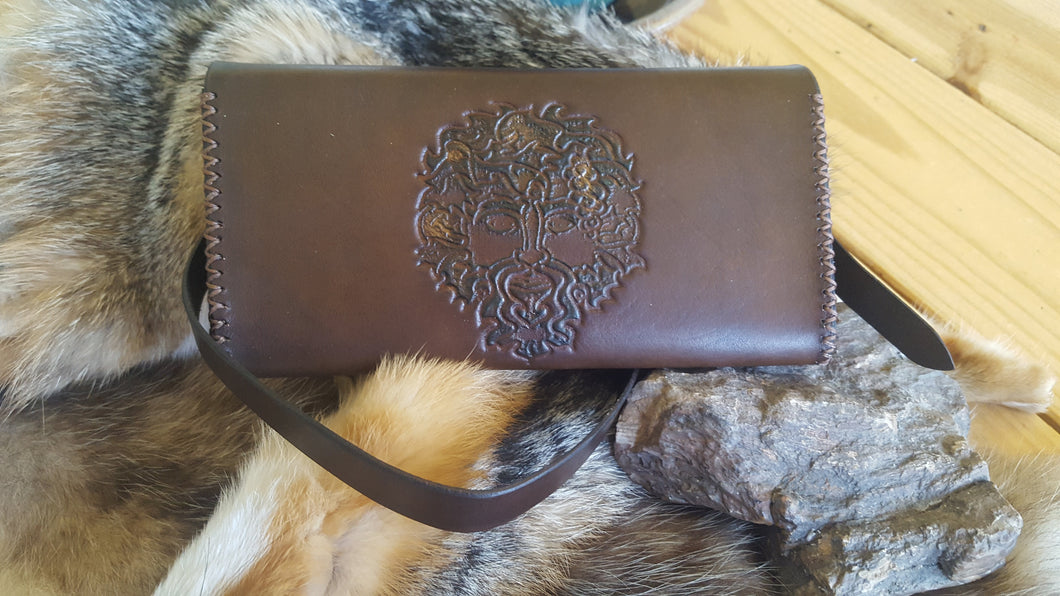 Green Man Leather Envelope Clutch